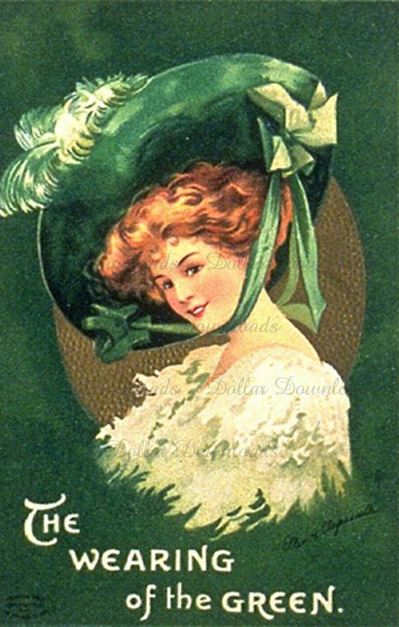 St. Patrick's Day Greetings The Wearing of the Green Antique Postcard Digital Image Download No. 3706