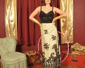 Modern Gypsy// reversible vintage 1970s metallic gold and black tapestry wrap skirt