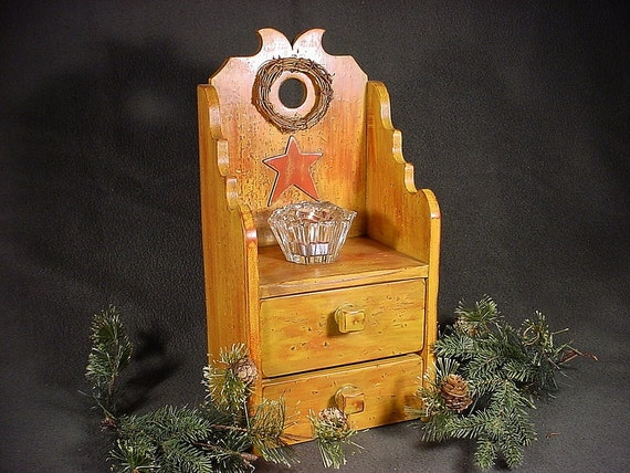 Primitive candle wall box ,distressed finish with two storage drawers