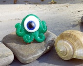 "SALE --- Green Translucent ""Eyeling"" Sea Monster Ring"