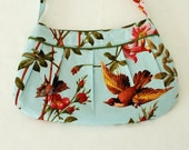 Elegant flowered bag with bird and butterfly, green sateen accents--World Vision fundraiser