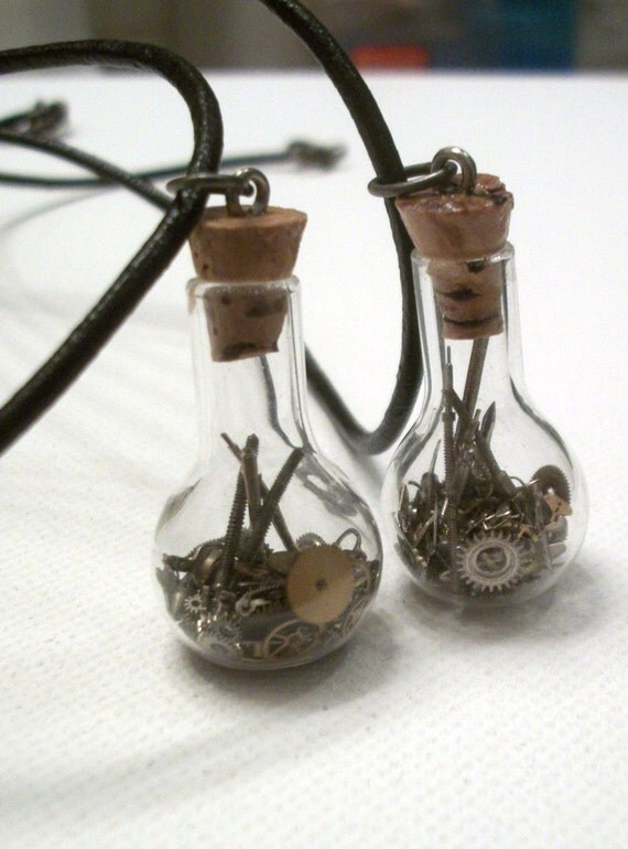 Steampunk Friendship Vial Necklaces