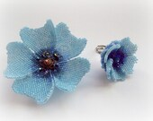 Elegant Blue Poppy Flower Seed Beads Peyote  Stitched  Brooch  Ring Set. Summer Fasion.  Gift Idea Under 50.