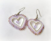 Valentine's Day  Heart Earrings.  Lilac Heart Beaded Earrings. Seed Bead Earrings. Beaded Jewelry. Summer fashion.  Gift Under 20.