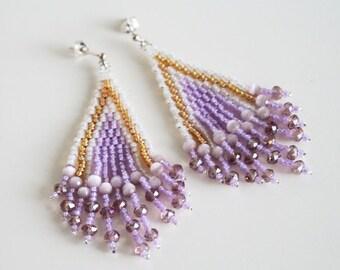 Long Dangle Fringe Earrings. Summer Earrings. Bead work Chandelier Earrings. Lilac Gold Earrings.Seed Bead Jewelry.