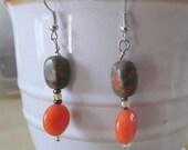 Earrings Dangle Green and Orange