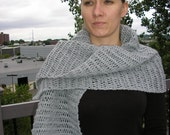 SALE Hand knitted scarf in gray color, gift for her - Free Shipping Etsy