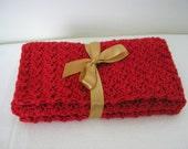 Eco Friendly Handmade Cotton Wash or Dishcloths - set of 3 - Poppy Red