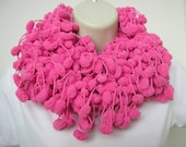 Pink Puff Ball -  loopy Hand crochet scarf Neck warmer