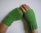 Fingerless Gloves, Knitted Mittens, Fall Fashion, Gift for her - Green
