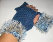 Fingerless Gloves, Knitted Mittens, Fall Fashion, Gift for her - Blue Mist