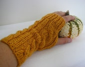 Hand knitted FINGERLESS GLOVES cable knit, wrist warmers, arm warmers in Goldenrod - Free Shipping Etsy