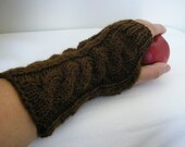 100% Wool - Hand knitted FINGERLESS GLOVES cable knit, wrist warmers, arm warmers in Cocoa Brown, one size fits all