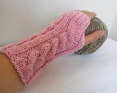 Fingerless Gloves, Knitted Mittens, Fall Fashion, Gift for her in light pink - Free Shipping Etsy