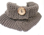 Handmade knitted Bulky Chunky Neck Warmer Cowl Shoulder warmer -  Taupe  Brown