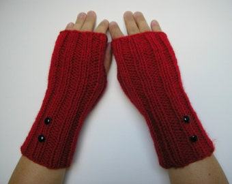 SALE Christmas RED Long Fingerless Gloves, Knitted Mittens, Fall Fashion, Gift for her with buttons