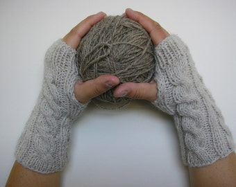 Light Hand knitted FINGERLESS GLOVES cable knit, wrist warmers, arm warmers in Natural wool blend, one size fits all