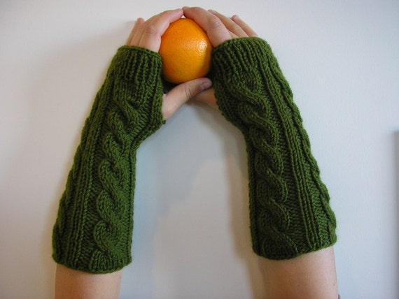 100% Wool - Long Hand knitted FINGERLESS GLOVES cable knit, wrist warmers, arm warmers in Fern Green, one size fits all  - Free Shipping