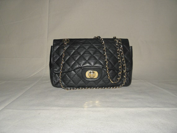 vintage quilted black supple leather double flap bag