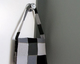 patches of gray upcycled tshirt purse