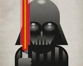 Darth Vader. Print 12x17in (30x42cm) plus FREE Button Pin