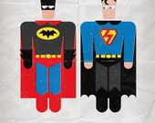 "Superman & Batman in ""Bad Laundry Day"". Print 12x17in (30x42cm) plus FREE Button Pin"