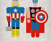 """Thor & Captain America in """"Bad Laundry Day"""". Print 12x17in (30x42cm) plus FREE Button Pin"""