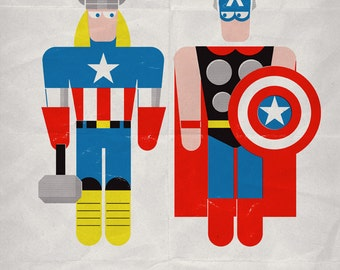 "Thor & Captain America in ""Bad Laundry Day"". Print 12x17in (30x42cm) plus FREE Button Pin"