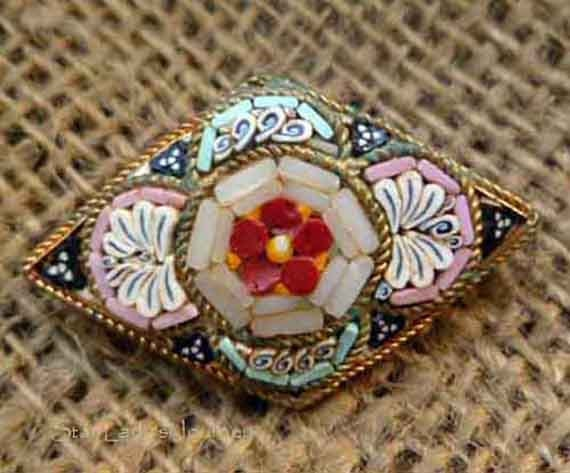 Vintage Micro-Mosaic Flower Pin with Pinks, Blues and Bright Reds
