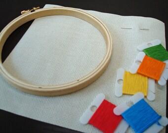 Stitch Kit - Primary Colors   DIY beginner sampler   Modern cross stitch