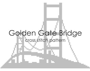PATTERN | Golden Gate Bridge cross stitch | Modern landmarks