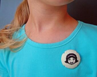 Miss Hiya button | Cross stitch wearable