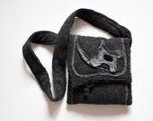 purse-muff bag, dark grey felted wool, pure cotton lining, salt ,pepper, silk velour in center of flower OOAK gift fashion design for winter