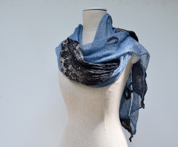 Natural Linen knit scarf with hand printed linen applique,hand dayed, wool felted elements unique pure linen & wool,blue black gray