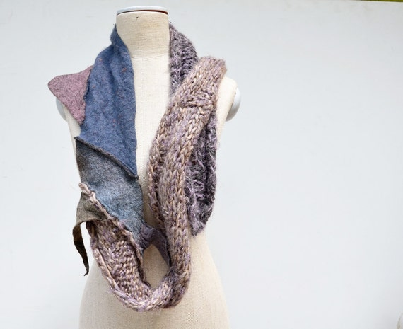 Long Hand knited scarf, shawl, combined with felt in few shades of blue and levender violet, asymmetrical unique gift OOAK, beige cappucino