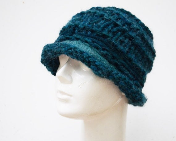 teal knit hat soft wool and acrilic, teal green colour, felt stripes ooak beanie for woman, fashionable, warm