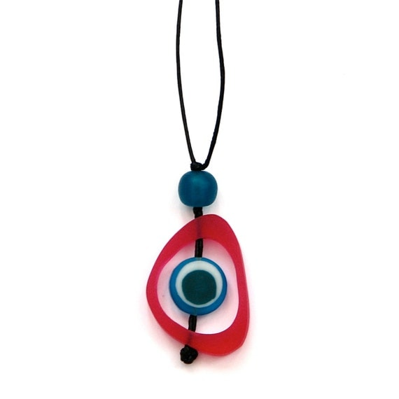 Resin Nursing Necklace Non Toxic Spinning Disc Pendant -Monkey Mama-  Magenta/ Fuschia Pink, Teal and Blue