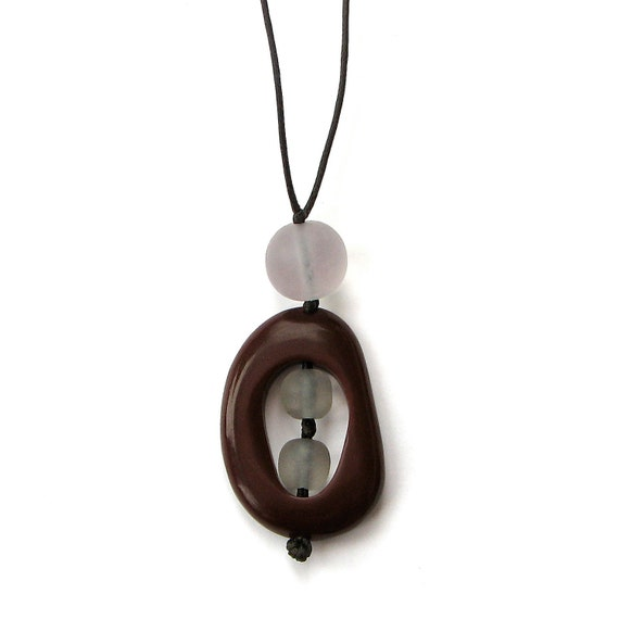 Nursing Necklace - Non Toxic Resin Breastfeeding Necklace - Chocolate Brown and Light Dove Grey/ Gray