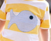 Yellow Stripe with Blue Seersucker Fish Applique 3T