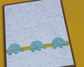 Elephant Thank You Cards, Baby Shower, Embossed, Customize in any color
