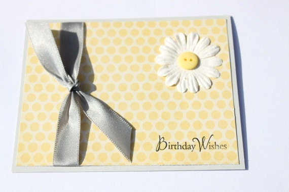 Daisy Birthday Card- Yellow, Silver