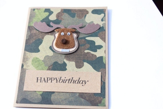 hunting birthday card camouflage by royalregards on etsy, Birthday card