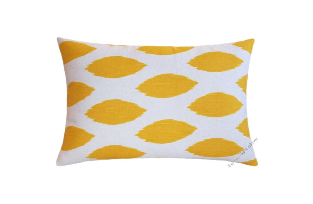 Mustard Yellow and White Chipper Decorative Throw Pillow Cover