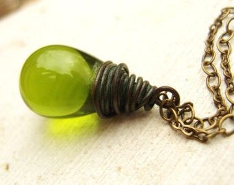 Avocado Green Glass Necklace. Wire Wrapped Briolette Necklace. Briolette Pendant Necklace. Teardrop Pendant Necklace