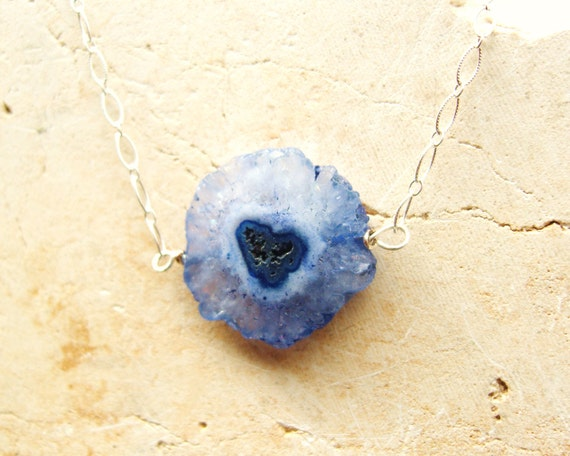 Blue Heart- Polished, Faceted Periwinkle Blue Solor Quartz Coin- Stalactite Coin, Sterling Silver Chain Necklace