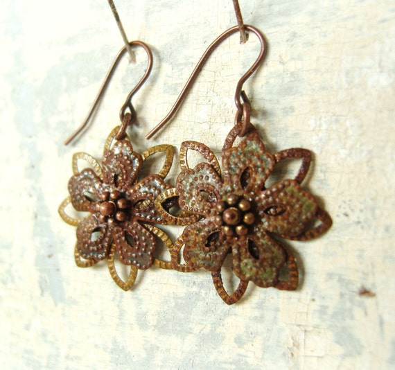 Copper Verdigris Earrings. Olive Rust Patina Earrings. Flower Dangle Earrings. Verdigris Jewelry