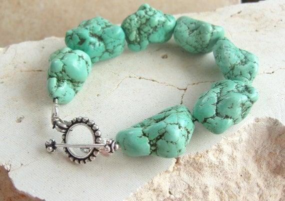 Turquoise Bracelet. Chunky Turquoise Jewelry. Toggle Bracelet