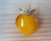 SALE Apple amber brooch . amber and gold pin . 50s jewelry