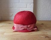 Red 60s hat // mod bubble hat // 1960s jockey cap style