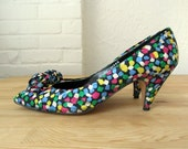 80s shoes // 1980s party shoes // colorful confetti heels // size 9 narrow